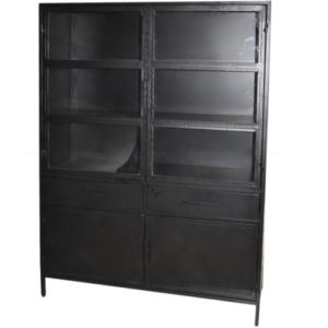 Besi Zwarte Vitrinekast (125x42x180)